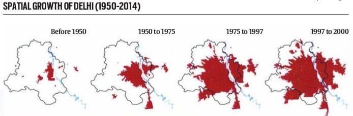 Spatial growth of Delhi (1950 – 2014) Source: Nair, 2015
