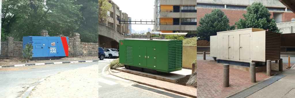 Publicly leased (left) and privately owned (middle, right) electricity generators in Johannesburg. (Photos by Candice Louw)